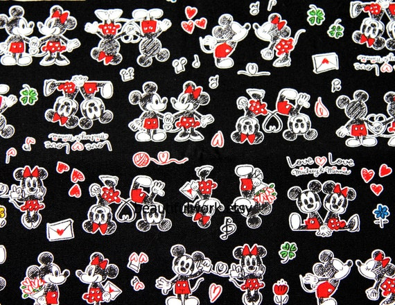 Disney Cartoon Mickey Mouse and Minnie Mouse  Print Japanese fabric  53  cm by 55  cm 20.5  by 21 inches