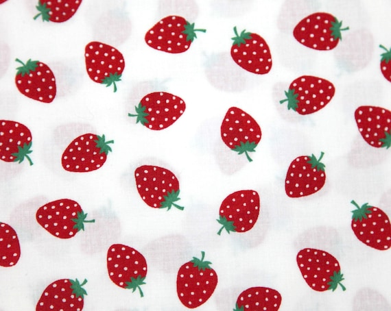 Strawberry print  half yard white