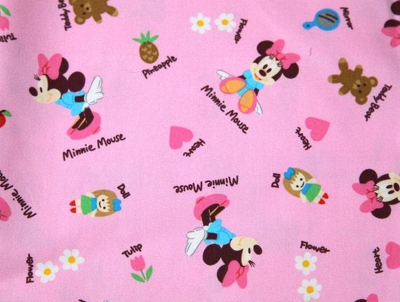 Disney Cartoon Minnie  Mouse  Print Japanese fabric