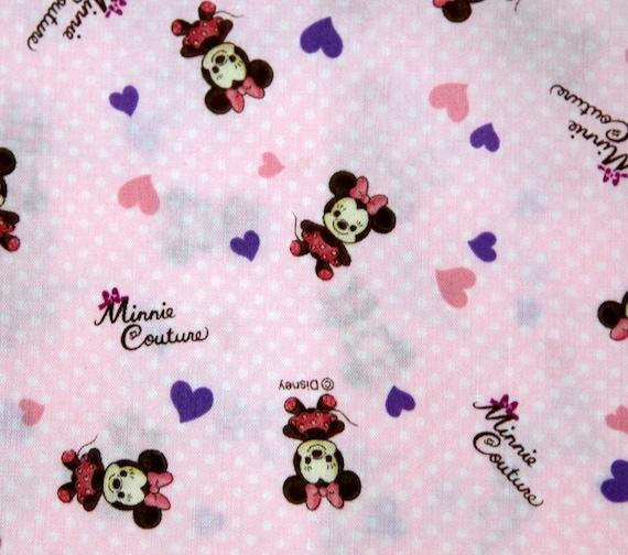 Disney Cartoon Minnie  Mouse  Print Japanese fabric baby pink