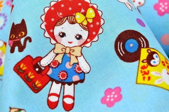 Kawaii Little girl Print Japanese Fabric blue