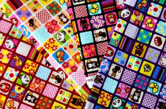 Kawaii Patchwork style print fabric scrap 13JUL