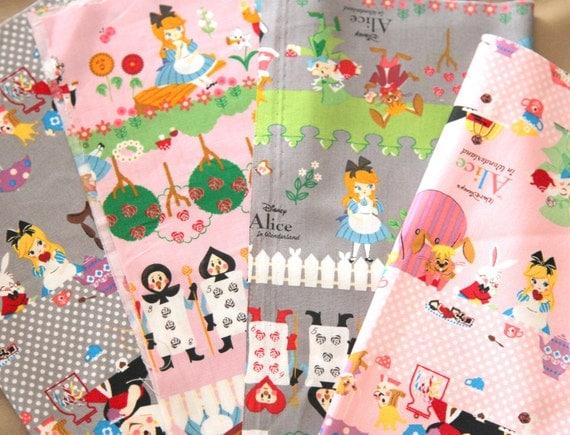 Alice in wonderland Japanese Fabric Scraps  4 Pcs B