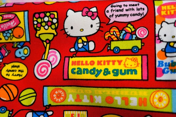 Hello Kitty Fabric Hello kitty and candies