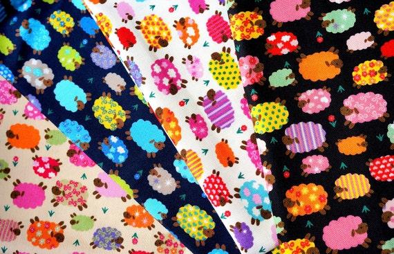 Glittery  Fabric colorful sheep print