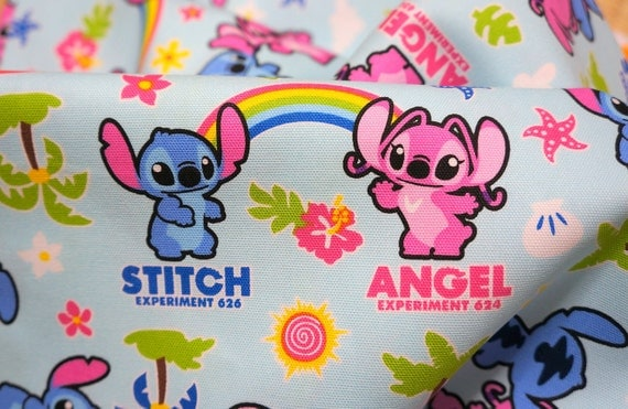 Disney fabric Stitch and Angel 65  cm by 106  cm or 25.5  by 43 inches LAST PIECE