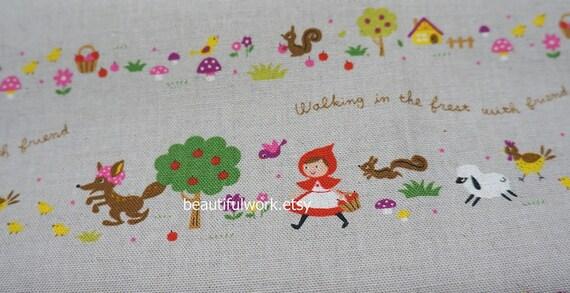Little Red Riding Hood Print Japanese Fabric cotton linen
