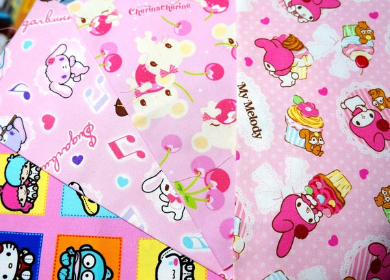 Sanrio fabric Scrap Hello kitty my melody kiki and lala AP32