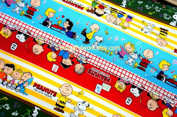 Snoopy Print Japanese Fabric 50 cm by 53  cm or  19.6 by 21 inches