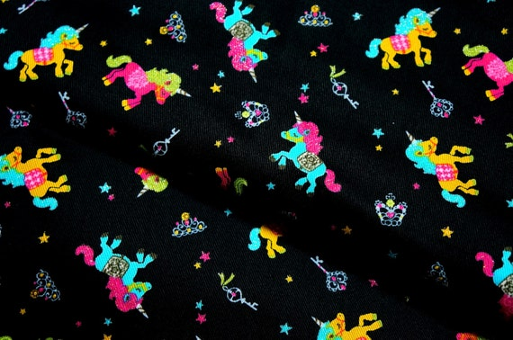 unicorn print Japanese fabric 67 cm by 53 cm or 26 by 21 inch (HAKO14A)