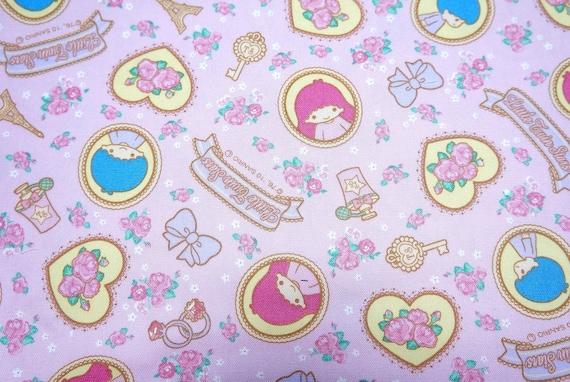 Sanrio Character Print Japanese fabric Twin Little star Kiki and lala