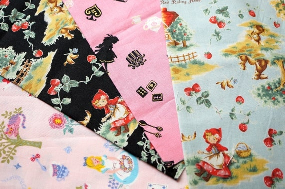 Alice in wonderland and Little red riding hood print fabric scrap MY25