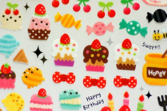 Yummy cakes , candy, cherrys Japanese stickers