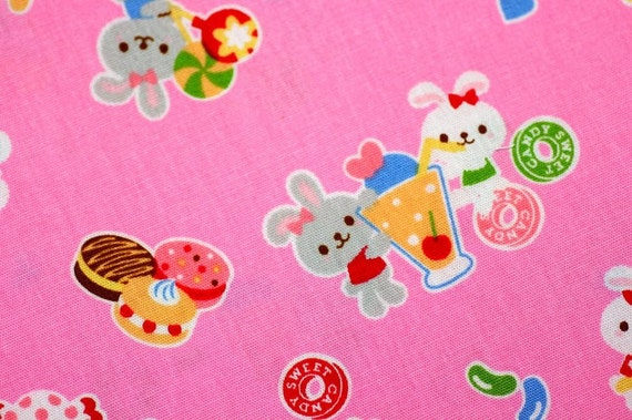 Half Yard Super Kawaii Bunny and Sweets print Japanese Fabric