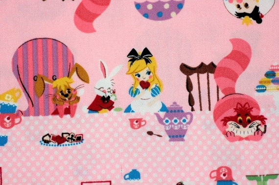 Kawaii Alice in wonderland with pink background Japanese fabric