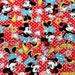 Disney Cartoon Mickey Mouse and Minnie Mouse  Print Japanese fabric dotty red background