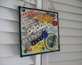 Games People PLAY Altered Art  RETRO Collage Wall Hanging