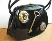 BLACK Patent  Leather Antiqued Skeleton Key Vintage Handbag