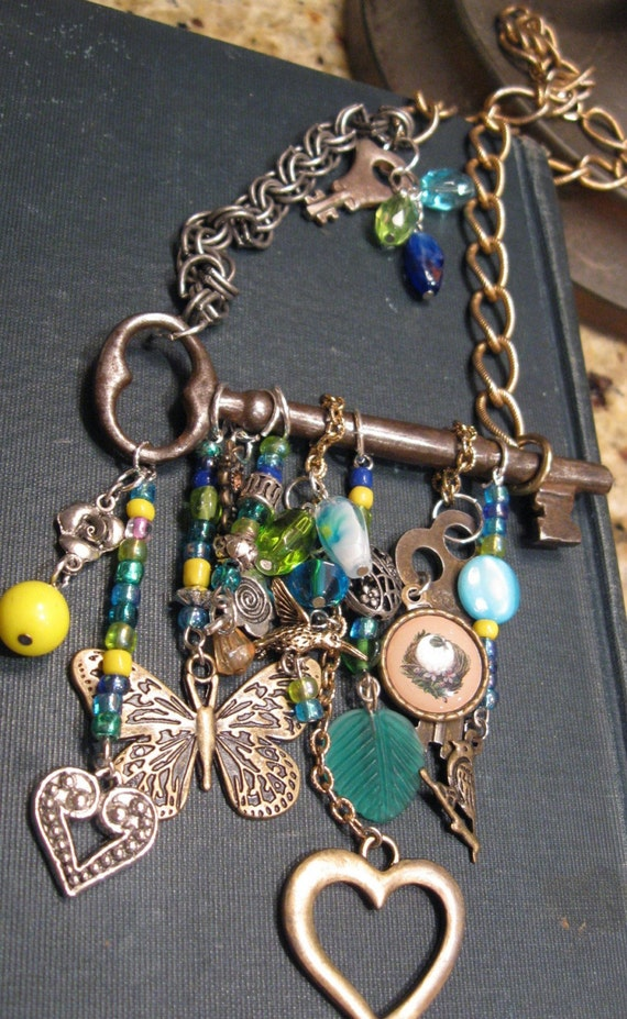 Keeper of the BIRDS and BEES...wearable art Steampunk Couture French Skeleton Key Necklace