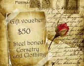 Gift voucher for steel boned corsetry and clothing