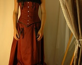 SAMPLE SALE - Josephine - burgundy and black adjustable bustle gown corset size 26""