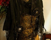 Custom vintage style scarf, steampunk inspired shawl, black lace pashmina wrap