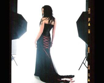 VEGAN - Charlotte -Custom made darkly romantic black wedding dress with steel boned corset