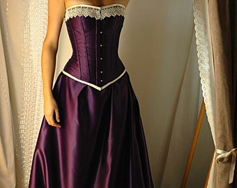 VEGAN - Guinevere - Custom made cadbury purple and antiqued ivory Bridal gown with steel boned corset