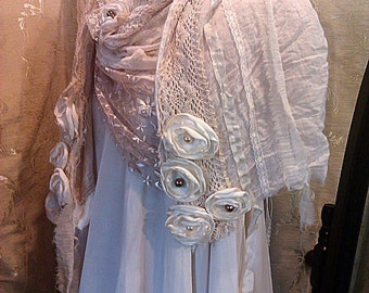 Custom made large cream and ivory scarf, vintage and contemporary lace ethereal shawl pashmina wrap