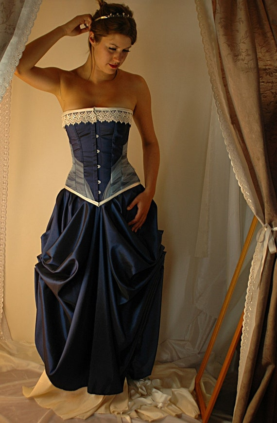 Niniane custom made midnight blue and ivory bridal gown with for Steel boned corset wedding dress