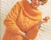 Vintage 1960s Sweater Jumper Knitting Pattern Mohair Roll Collar Cable Knit  60s PDF 6606 Bust 32 34 36 38