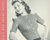 Vintage 1940 Sweater 14 Knitting Patterns E Book PDF Patterns EB105 Jumper Long Sleeve Short Sleeve Cardigan Ladies Woman Women