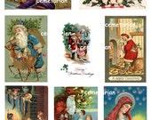 Antique Christmas Postcard Clip Art Scrapbooking Digital Download Santa Madonna Children Kewpie D103