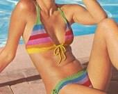Vintage 1970s Bikini Swimsuit Boho Multi Stripe Mini Crochet Pattern PDF 7406 Bust 32 34 inch Size XS S M Extra Small Medium 70s Hippie