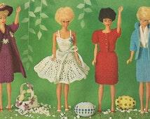 Vintage 1965 Barbie Crochet Patterns 4 Outfits Dress Coat Hat Suit Sweater PDF 6501