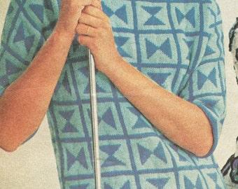 Vintage 1960s Minoan Double Ax Sweater Knitting Pattern PDF 6402