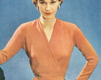 Vintage 1950s Surplice Sweater with Fitted Waist Knitting Pattern PDF 5007