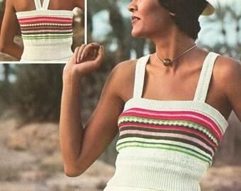 Vintage 1970s Stripe Chemise Top Knitting Pattern PDF 7417