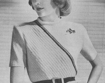 Vintage 1940s Jumper Sweater Diagonal Knitted Blouse Knitting Pattern PDF 4706 Size 14 and 16 40s Top Short Sleeve Shirt
