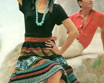 Vibrantly Vital Vintage 1960s Knitted Skirt and Sweater Pattern PDF 6409