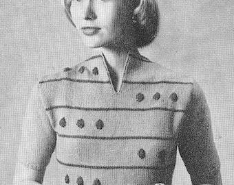 Vintage 1940s Dots and Stripes Blouse Knitting Pattern PDF 4805