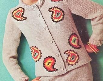 Vintage 1960s Jumper Sweater Skirt Random Paisley Knitting Pattern PDF 6707 60s Size 10 12 14 Bust 30 32 34
