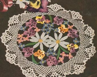 Vintage 1950s Flower Bouquet Doily Doilies Pansy Forget Me Not Daisy Crochet Pattern PDF 5014