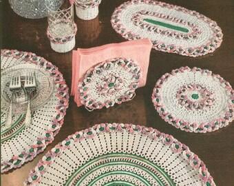 Vintage 1950s Crochet Doily Six Piece Vintage Mid Century Dinette Set Hot Plate Place Mat Glass Potholder Napkin Holder Pattern PDF 5302