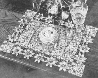 Vintage 1940s Passion Flower Place Mat Crochet Pattern PDF 4904