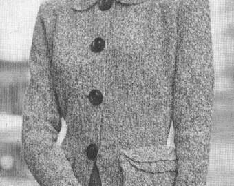 Vintage 1940s Suit Jacket with Saddle Bag Pocket Knitting Pattern PDF 4814