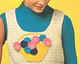 Vintage 1970s Vest Halter Easter Daisy Basket Shrink Crochet Pattern PDF 7201 Size 10 12 14 Bust 32 33 34 35 36