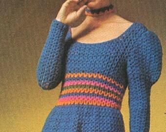 Vintage 1970s Leg O Mutton Juliet Sleeves Midi Hippie Ren Faire Crochet Dress Pattern PDF 7102