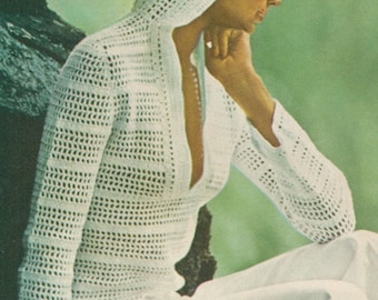 Vintage 1970s Hooded Pullover Boho Crochet Pattern PDF 7602 Size S M L Small Medium Large Bust 31 32 33 34 35 36 37 38