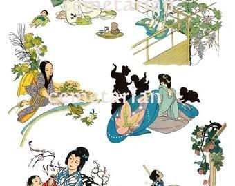Antique 1920s Japan Art  Deco Collage Women Children Digital Download D106